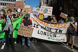 London, UK. 24th September, 2021. Hundreds of young people march during a Global Climate Strike to demand intersectional climate justice. The Global Climate Strike was organised to highlight the detrimental influences through colonialism, imperialism and exploitation of the Global North on MAPA (Most Affected Peoples and Areas), which have contributed to them now experiencing the worst impacts of the climate crisis, and to call on the Global North to pay reparations to MAPA.