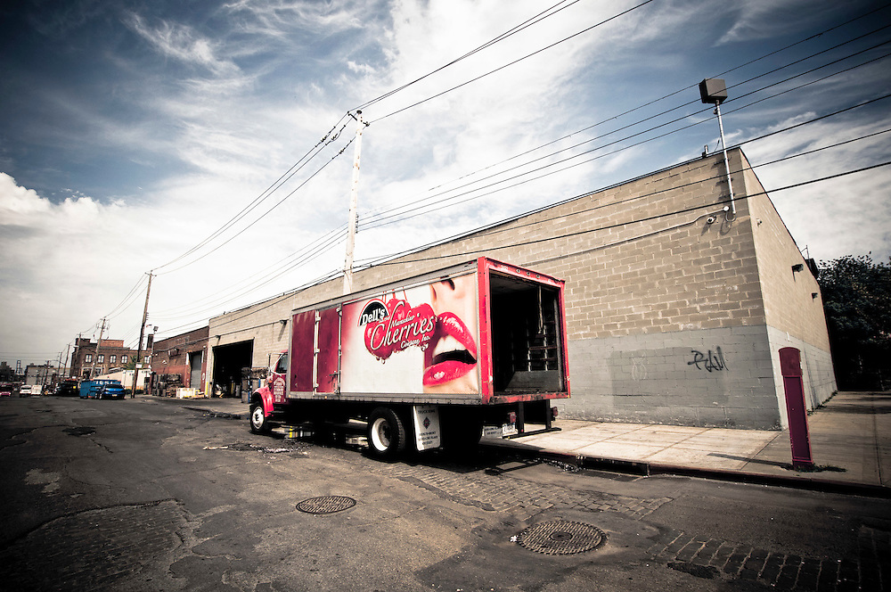 A truck parked on a street of red Hook, Brooklyn