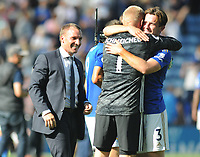 Football - 2019 / 2020 Premier League - Leicester City vs. Tottenham Hotspur<br /> <br /> Leicester players, Ben Chilwell and Kasper Schmeichel celebrate with Manager, Brendan Rodgers at the final whistle at The King Power Stadium.<br /> <br /> COLORSPORT/ANDREW COWIE