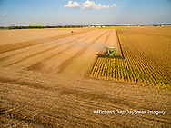 63801-08918 Soybean Harvest, 2 John Deere combines harvesting soybeans - aerial - Marion Co. IL