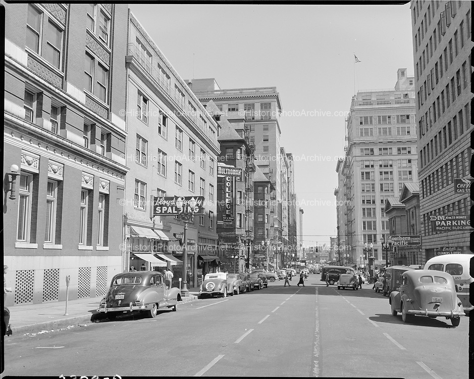 """""""Multnomah College and Pacific First Federal Savings"""" July 1, 1950 (SW 6th looking north from Yamhill, Portland Hotel in background)"""