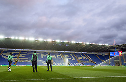 Queens Park Rangers players take to the pitch before the Sky Bet Championship match at the Madejski Stadium, Reading.