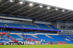 CARDIFF, WALES - Sunday, September 6, 2020: Wales and Bulgaria players line-up for the national anthems in front of empty seats before the UEFA Nations League Group Stage League B Group 4 match between Wales and Bulgaria at the Cardiff City Stadium. (Pic by David Rawcliffe/Propaganda)