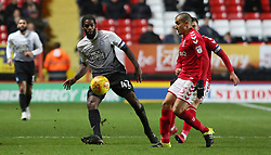 Anthony Grant of Peterborough United plays the ball away from Ahmed Kashi of Charlton Athletic - Mandatory by-line: Joe Dent/JMP - 28/11/2017 - FOOTBALL - The Valley - Charlton, London, England - Charlton Athletic v Peterborough United - Sky Bet League One