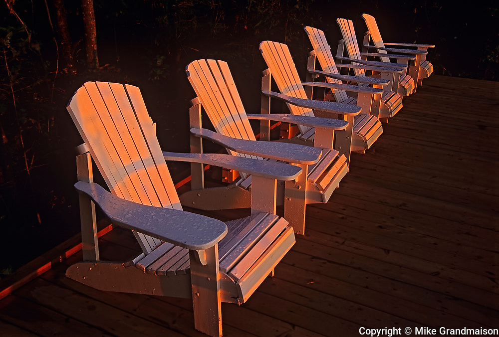 Muskoka chairs on Lake of the Woods<br />Near Sioux Narrows<br />Ontario<br />Canada