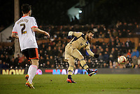 Leeds United's Mirco Antenucci scores his sides third goal <br /> <br /> Photographer Ashley Western/CameraSport<br /> <br /> Football - The Football League Sky Bet Championship - Fulham v Leeds United - Wednesday 18th March 2015 - Craven Cottage - London<br /> <br /> © CameraSport - 43 Linden Ave. Countesthorpe. Leicester. England. LE8 5PG - Tel: +44 (0) 116 277 4147 - admin@camerasport.com - www.camerasport.com