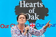 "A leader of the ""Hearts of Oak"" political group speaks to a crowd of people who gathered to participate in a protest called by the far-right group Hearts of Oak in Parliament Square in London, on Saturday, August 1, 2020. The group demanded the deportation of Muslims and other individuals who may have committed crimes in the country regardless of their status. The group praised US President Donald Trump and his policies to foreigners. (VXP Photo/ Vudi Xhymshiti)"