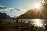 USA, Oregon, Columbia Gorge National Scenic Area, Viento State Park, family on beach.