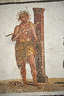 Picture of a satyr wearing a panther skin playing a flute from a Roman mosaic depicting Dionysus Riding a Panther, from Abdel Jelil. 2nd century AD. El Djem Archaeological Museum, El Djem, Tunisia. .<br /> <br /> If you prefer to buy from our ALAMY PHOTO LIBRARY Collection visit : https://www.alamy.com/portfolio/paul-williams-funkystock/roman-mosaic.html . Type - El Djem - into the LOWER SEARCH WITHIN GALLERY box. Refine search by adding background colour, place, museum etc<br /> <br /> Visit our ROMAN MOSAIC PHOTO COLLECTIONS for more photos to download as wall art prints https://funkystock.photoshelter.com/gallery-collection/Roman-Mosaics-Art-Pictures-Images/C0000LcfNel7FpLI