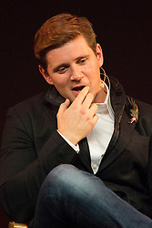 © licensed to London News Pictures. London, UK 31/10/2012. Downton Abbey star Allen Leech speaking to his fans at Apple Store during a Meet the Cast event on Regent Street, London on 31/10/12. Photo credit: Tolga Akmen/LNP