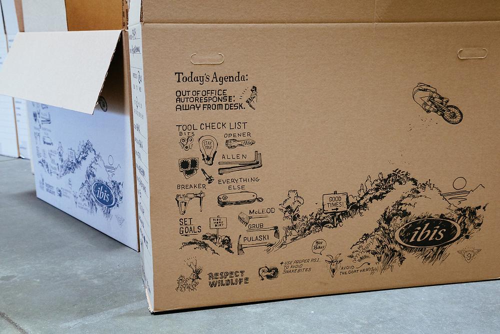 Ibis bicycle shipping box art.
