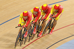 Team Spain (Pablo Aitor Bernal Rosique, Sebastian Mora Vedri, David Muntaner Juaneda and Albert Torres Barcelo)  during the Men's team pursuit qualifying held at the Velodrome at Olympic Park in London as part of the London 2012 Olympics on the 2nd August 2012..Photo by Ron Gaunt/SPORTZPICS