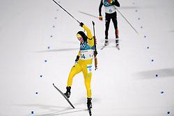 February 12, 2018 - Pyeongchang, SOUTH KOREA - 180212  Sebastian Samuelsson of Sweden celebrates his silver medal Men's Biathlon 12,5km Pursuit during day three of the 2018 Winter Olympics on February 12, 2018 in Pyeongchang..Photo: Jon Olav Nesvold / BILDBYRN / kod JE / 160157 (Credit Image: © Jon Olav Nesvold/Bildbyran via ZUMA Press)