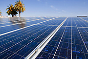 A roof mounted, grid tied Solar Voltaic solar panel array (10Kw), installed by Martifer Solar USA on top of the Santa Monica Library. The Library was built in 2005 by the architecture firm Moore Ruble Yudell (MRY) and is a LEEDS Certified building. Los Angeles County, California, USA