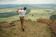The world's toughest golf hole where players have to tee off from a MOUNTAIN onto the green 400 yards below (and have to be flown there by helicopter)<br />