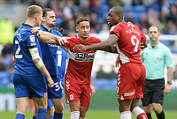 Middlesbrough's Marcus Tavernier separates team mate Uche Ikpeazu from Cardiff City's Mark McGuinness<br /> <br /> Photographer Ian Cook/CameraSport<br /> <br /> The EFL Sky Bet Championship - Cardiff City v Middlesbrough - Saturday 23rd October 2021 - Cardiff City Stadium - Cardiff<br /> <br /> World Copyright © 2020 CameraSport. All rights reserved. 43 Linden Ave. Countesthorpe. Leicester. England. LE8 5PG - Tel: +44 (0) 116 277 4147 - admin@camerasport.com - www.camerasport.com