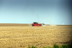 A farmer operates a combine to harvest or pick the soybeans from his grain field