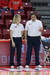 17 October 2014:  down and up officials during an NCAA Missouri Valley Conference (MVC) womens volleyball match between the Northern Iowa Panthers and the Illinois State Redbirds for 1st place in the conference at Redbird Arena in Normal IL