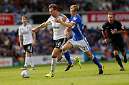 Fulham midfielder Kevin McDonald (6) Ipswich Town midfielder Flynn Downes (21) battles for possession  during the EFL Sky Bet Championship match between Ipswich Town and Fulham at Portman Road, Ipswich, England on 26 August 2017. Photo by Phil Chaplin.