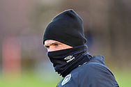 Heart of Midlothian assistant manager, Lee McCulloch  is wrapped up against the cold during the Heart of Midlothian press conference, media and training session, ahead of the William Hill Scottish Cup Final, at the Oriam Sports Performance Centre, Edinburgh, Scotland on 15 December 2020.