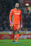 Stoke City Goalkeeper Lee Grant looks on. Premier league match, Stoke City v Leicester City at the Bet365 Stadium in Stoke on Trent, Staffs on Saturday 17th December 2016.<br /> pic by Chris Stading, Andrew Orchard sports photography.
