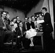 """25/05/1959<br /> 05/25/1959<br /> 25 May 1959 <br /> The cast of the play """"Sive"""" from the Listowel Drama group at rehearsal the Abbey Theatre (Queen's Theatre Pearse Street), The group had won the The All Ireland Drama Festival, sponsored by Esso in Athlone. On right is producer Brendan Carroll."""