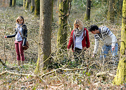 ©London News pictures. 22/03/11.  Locals and friends of Sian O'Callaghan help Police in the search in Savernake Wood, Wiltshire, today. Detectives continue investigating the disappearance of office administrator Sian O'Callaghan. The 22-year-old disappeared after leaving Suju nightclub in Swindon at about 2.50am on Saturday to walk the half-mile home to the flat she shared with her boyfriend Kevin Reape. Picture Credit should read Stephen Simpson/LNP