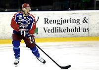 Ishockey<br /> GET-Ligaen<br /> 09.10.08<br /> Jordal Amfi<br /> Vålerenga VIF - Lørenskog<br /> Regan Kelly<br /> Foto - Kasper Wikestad