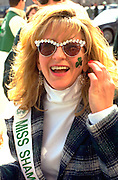 Miss Shamrock age 27 at the St. Patricks day parade.  St Paul  Minnesota USA