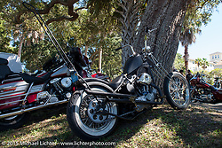 Issac Crawford's custom Harley-Davidson Ironhead Sportster at the Chopper Time Old School Bike Show at Willy's Tropical Tattoo during the Biketoberfest Rally. Ormond Beach, FL, USA. October 15, 2015.  Photography ©2015 Michael Lichter.