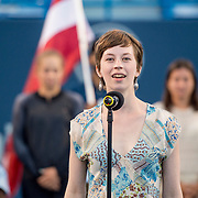 August 22, 2016, New Haven, Connecticut: <br /> Emma Hathaway of Yale University sings the National Anthem during the Opening Ceremonies on Day 4 of the 2016 Connecticut Open at the Yale University Tennis Center on Monday August  22, 2016 in New Haven, Connecticut. <br /> (Photo by Billie Weiss/Connecticut Open)