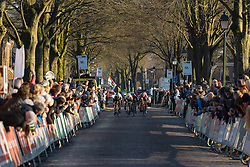 The sprint to the line begins - Drentse 8, a 140km road race starting and finishing in Dwingeloo, on March 13, 2016 in Drenthe, Netherlands.