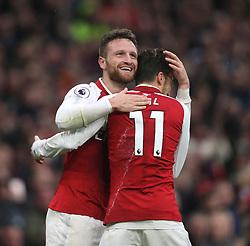 18 November 2017 London : Premier League Football : Arsenal v Tottenham Hotspur - Shkodran Mustafi celebrates after scoring the first goal for Arsenal.(photo by Mark Leech)