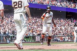 June 3, 2018 - San Francisco, CA, U.S. - SAN FRANCISCO, CA - JUNE 03: San Francisco Giants Right field Andrew McCutchen (22) doffs his helmet coming home after hitting a 3-run home run during the MLB game between the Philadelphia Phillies and San Francisco Giants on June 3, 2018, at AT&T Park in San Francisco, CA. (Photo by Bob Kupbens/Icon Sportswire) (Credit Image: © Bob Kupbens/Icon SMI via ZUMA Press)