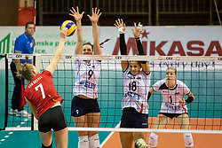 Celine Van Gestel of Belgium and Iza Mlakar of Slovenia during volleyball match between National teams of Slovenia and Belgium in 4th Qualification Round of 2019 CEV Volleyball Women's European Championship, on August 25, 2018 in Sports hall Tabor, Maribor, Slovenia. Photo by Urban Urbanc / Sportida