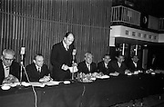13/02/1963<br /> 02/13/1963<br /> 13 February 1963<br /> International Apprentices Competition Press Conference at the Shelbourne Hotel, Dublin to announce details of the International Trade Competitions for Apprentices to be held in Dublin from 8-13th July 1963. (l-r): R. Guines, Inspector, Department of Education; M. O'Flanagan, Chief Inspector, Technical Instruction Branch, Department of Education; Dr P.J. Hillery, Minister for Education, who convened the conference; M. Gleeson, CEO, Chairman National Organising Committee; John McCann, Chairman Dublin V.E.C.; J. Agnew, chairman of Cheard Chomhairle and John D. Barry (of Cobh) Department of Education, who is Director of Organisation.