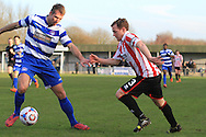 David King and Jack Bartram during the FA Trophy match between Oxford City and Cheltenham Town at Court Place Farm, Oxford, United Kingdom on 16 January 2016. Photo by Antony Thompson.