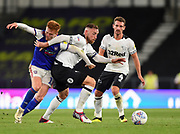 Ipswich Town midfielder Jon Nolan (11) battles with Derby County defender Richard Keogh (6) during the EFL Sky Bet Championship match between Derby County and Ipswich Town at the Pride Park, Derby, England on 21 August 2018.