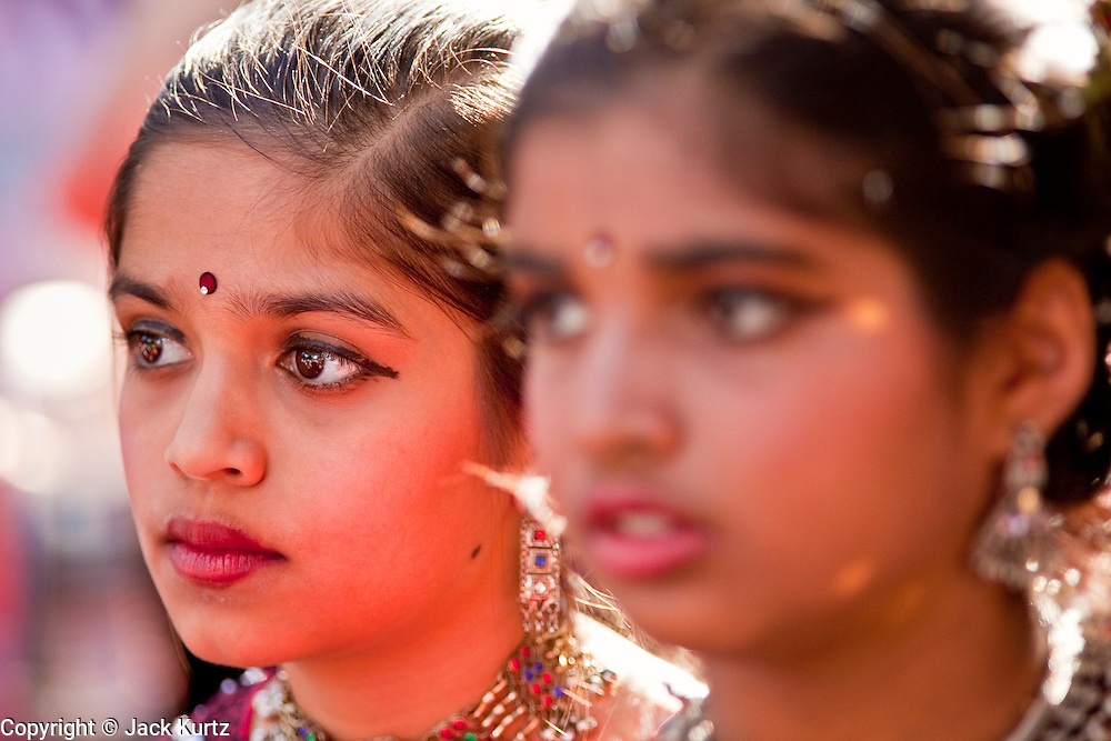 Nov. 22, 2009 -- PHOENIX, AZ: Indian-American girls in traditional outfits at the annual Discover India Festival in Phoenix, AZ. This is the 8th year the Indian Association of Phoenix has sponsored the festival, which started as a celebration of Diwali, the Indian Festival of Lights, and has since grown to be a celebration of India's cultures, traditions and diversity.    Photo by Jack Kurtz