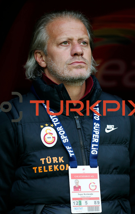 Galatasaray's assistant coach Tugay Kerimoglu seen during their Turkish superleague soccer derby match Galatasaray between Fenerbahce at the AliSamiYen spor kompleksi TT Arena in Istanbul Turkey on Sunday, 06 April 2014. Photo by Aykut AKICI/TURKPIX