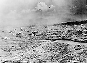 World War II 1939-1945: View of the city of Hiroshima, Japan, after the explosion of the atomic bomb, 6 August 1945. US Army photograph. Warfare Nuclear Ruins Destruction
