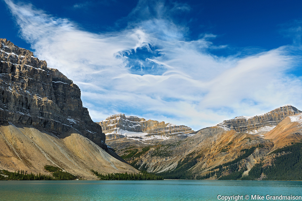 CLouds above Bow Lake in the Canadian Rockies<br /> Banff National Park<br /> Alberta<br /> Canada