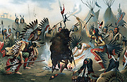 Sioux war dance. Oleograph from Ratzel 'The Human Race' Leipzig, c1890.  Chromolithograph.