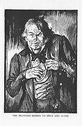 Robert Louis Stevenson 'The Strange Case of Dr Jekyll and Mr Hyde' first published 1886.  Hyde, having taken the antidote, 'the features seemed to melt and alter' and he is transformed back into Dr Jekyll. Illustration by Edmund J. Sullivan from an edition published 1928.