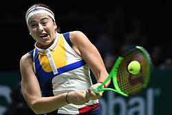 Oct. 26, 2017 - Singapore, Singapore - JELENA OSTAPENKO of Latvia hits a return during the match against Karolina Pliskova of the Czech Republic at the WTA Finals tennis tournament in Singapore. Ostapenko won 2:0.  (Credit Image: © Then Chih Wey/Xinhua via ZUMA Wire)