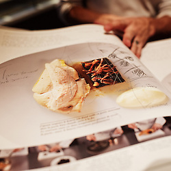 "PARIS, FRANCE. NOVEMBER 8, 2013. The new 17 kg book from Chef Yannick Alleno at the ""Terroir Parisien"", his new restaurant atttached to La Bourse's Palais Brongniart. Photo: Antoine Doyen"