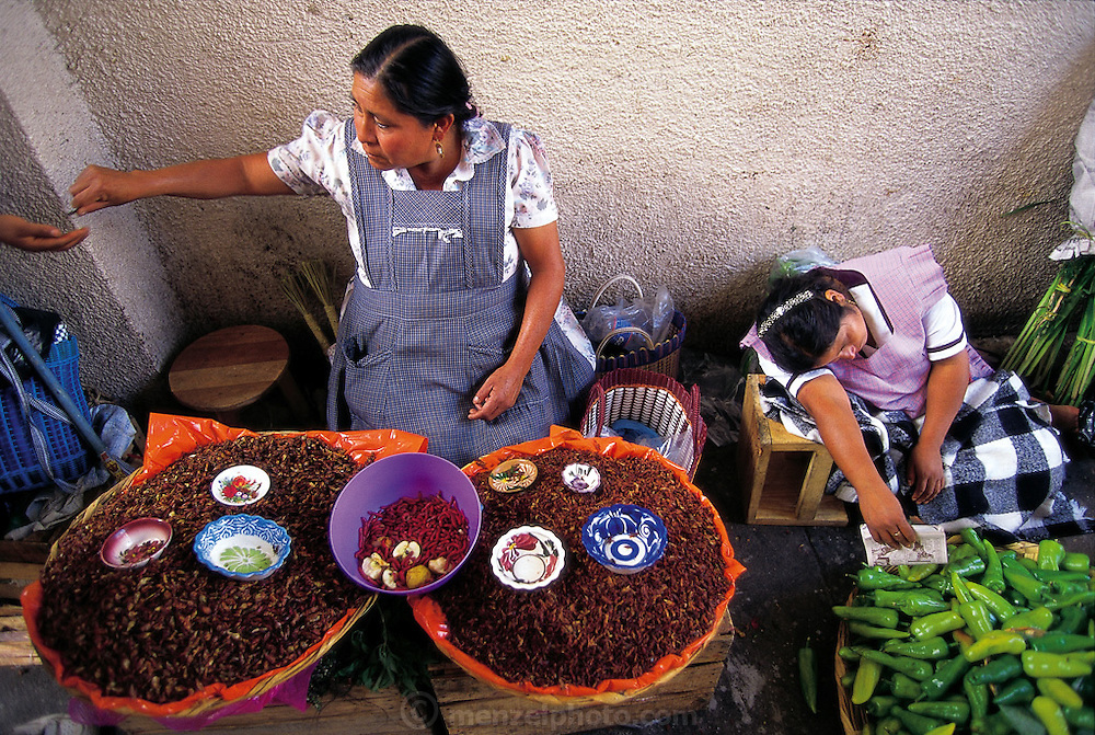 Rosa Matíaz sells roasted and salted chapulines (grasshoppers) and live maguey worms in Oaxaca's Central Market, Oaxaca, Mexico. (Man Eating Bugs page 112-113)
