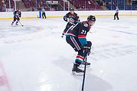 KELOWNA, CANADA - SEPTEMBER 5: Kyle Pow #21 of the Kelowna Rockets skates against the Kamloops Blazers on September 5, 2017 at Prospera Place in Kelowna, British Columbia, Canada.  (Photo by Marissa Baecker/Shoot the Breeze)  *** Local Caption ***