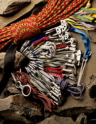 Rock climbing ropes and tools
