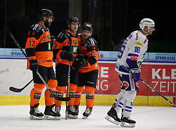 06.01.2019, Merkur Eisstadion, Graz, AUT, EBEL, Moser Medical Graz 99ers vs EC VSV, 36. Runde, im Bild von links Dwight King (Moser Medical Graz 99ers), Matt Garbowsky (Moser Medical Graz 99ers), Colton Yellow-Horn (Moser Medical Graz 99ers) und MacGregor Sharp (EC Panaceo VSV) // during the Erste Bank Eishockey League 36th round match between Moser Medical Graz 99ers and EC VSV at the Merkur Eisstadion in Graz, Austria on 2019/01/06. EXPA Pictures © 2019, PhotoCredit: EXPA/ Erwin Scheriau